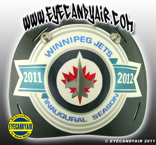Chis Mason Winnipeg Jets inaugural Goalie Mask airbrushed by Steve Nash EYECANDYAIR on a Sportmask