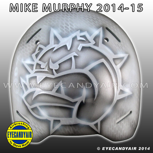 Mike Murphy custom painted DEC Bullsdogs EBEL goalie mask backplate by Steve Nash of EYECANDYAIR 2014