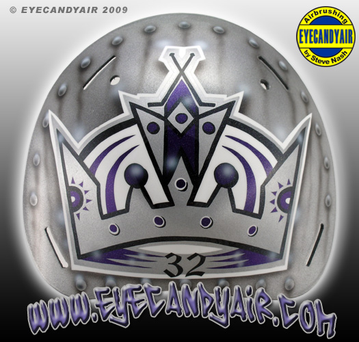 Jon Quick Kings 2009 Sportmask Airbrush Painted Goalie Mask backplate by EYECANDYAIR mask artist