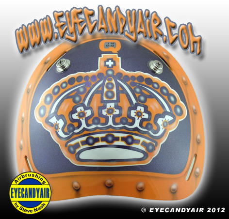 Jonathan Quick Vintage LA KINGS 2012 Goalie Mask Backplate airbrushed by Artist Steve Nash EYECANDYAIR on a Sportmask