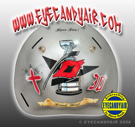 Airbrushed painted Cam Ward 2007 goalie mask backplate by EYECANDYAIR on a Sportmask