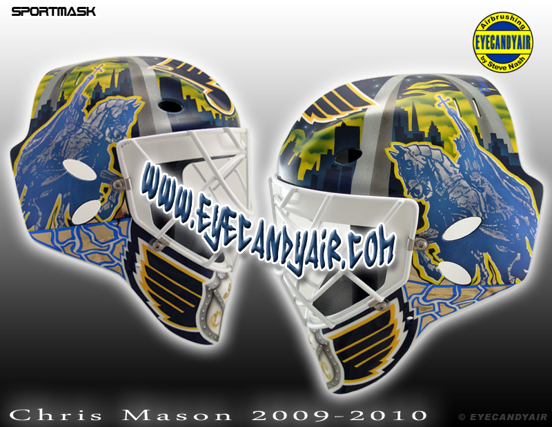 Chris Mason helmet St.Louis Blues 2009-2010 Sportmask Custom Goalie Mask Airbrushed Painted by Steve Nash EYECANDYAIR- Toronto
