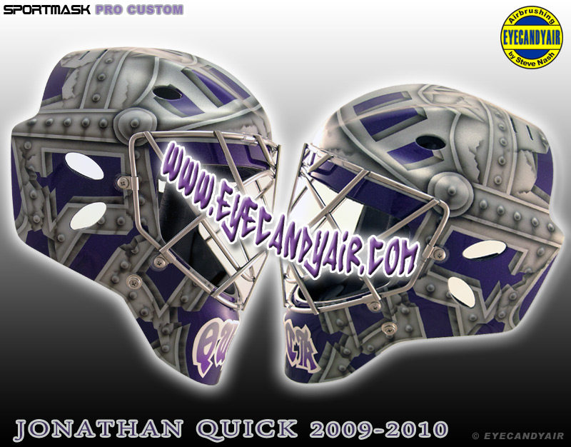 Jonathan Quick Los Angeles Kings 2009-2010 Custom Goalie Knight Mask Airbrush Painted by Steve Nash EYECANDYAIR on sportmask