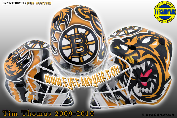 2010 Tim Thomas Boston Bruins Beware of Bear Airbrushed Sportmask Mage Goalie Mask Designed by Artist Steve Nash EYECANDYAIR- Toronto