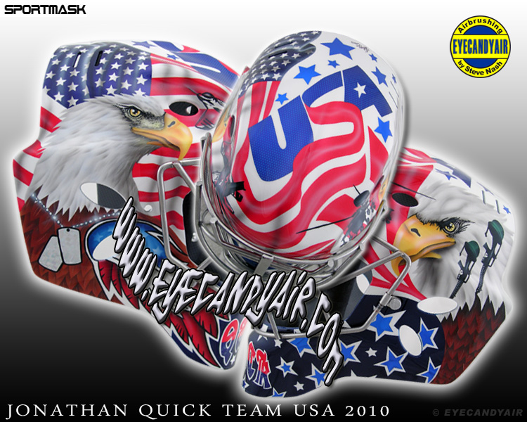 Jonathan Quick 2010 Team USA Sportmask Goalie Mask Airbrush Painted by Steve Nash EYECANDYAIR- Toronto