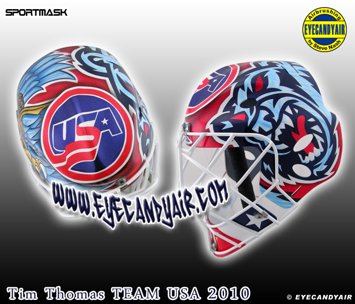 >2010 Tim Thomas USA Airbrushed Goalie Mask Painted by Steve Nash EYECANDYAIR- Toronto Ontario