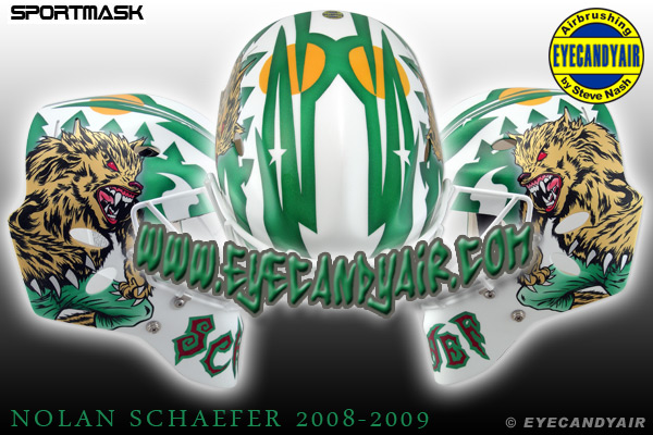 Nolan Schaefer Houston Aeros 2009 Werewolf Sportmask painted goalie mask EYECANDYAIR