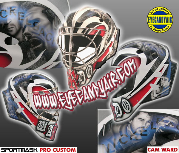 Cam Ward Custom Painted Nickelback Goalie Mask by EYECANDYAIR